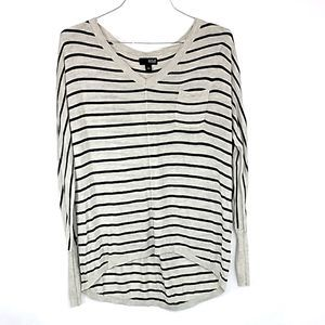 A.n.a. striped dolman sweater with pocket